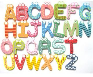 26pcs Alphabet A Z Letters Wood Fridge Magnet Baby Kids Educational Teaching Toy
