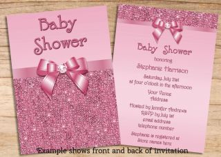 Girls Baby Shower Pink Sequins Invitations Double Sided Cheap Printable Invites