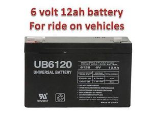 6V 12AH Battery for Kids Ride on Cars Motorcycles Toy 6 Volt
