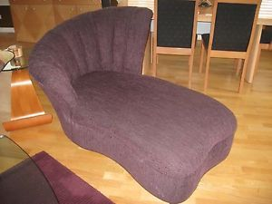 Unique Art Deco Styled Eggplant Colored Textured Chenille Chaise Lounge Chair