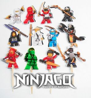 12 Lego Ninjago Birthday Party Cupcake Cake Toppers Sticks