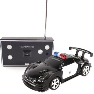Kid Xmas Gifts Mini RC Remote Control Police Car Toy Vehicles w LED Light