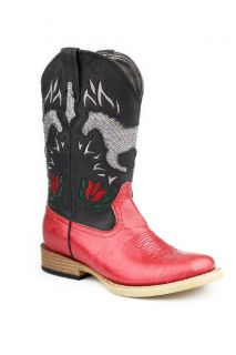 Roper Western Boots Girls Kids Bling Wide Sq Floral Child Black Red