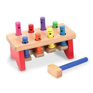Melissa Doug Wooden Pounding Pound Hammer Pegs Baby Toy Kids Wood New
