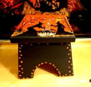 Vintage Halloween Witches Haunted House Wooden High Back Doll or Treat Chair