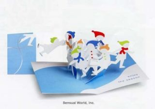 Pretty Sabuda Pop Up Winter Figure Ice Skaters Christmas Card Holiday Card