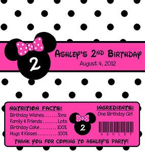 Polka Dot Minnie Mouse Birthday Candy Wrappers Party Favors