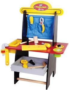 Deluxe Wooden Kids Tool Bench Toy Playset