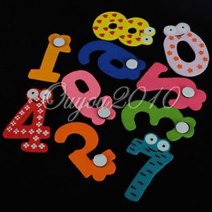 X'mas Gift Set 10 Number Wooden Fridge Magnet Education Learn Cute Kids Baby Toy