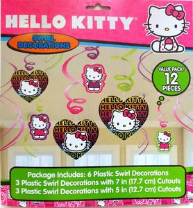 Hello Kitty Dangling Swirl Decorations 12 Piece Set 673701