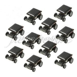 Lot 10 Pcs Smallest Mini Solar Power Robot Toy Car Auto for Children Kids Funny