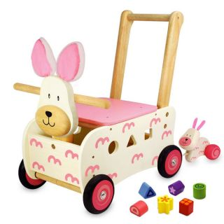 Kids Wooden Walker Rider Shape Sorting Pink Bunny Rabbit Baby Walking Toy