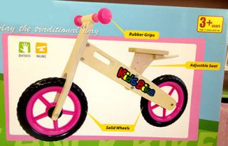 Girls Pink Wooden Balance Bike Solid Wheels Adjustable Seat Rubber Kids Toys New