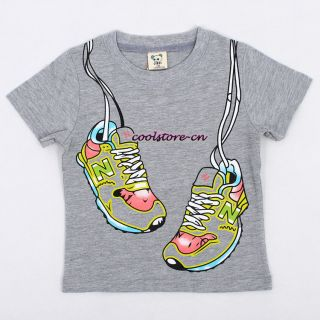 Summer New Kids Boys Girls Shoes Pattern Clothing Short Sleeve T Shirt Tops T103