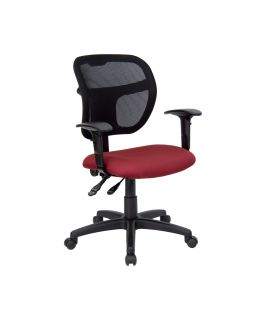 Flash Furniture Mid Back Mesh Task Chair with Burgundy Fabric Seat and Arms