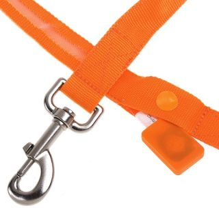 Orange LED Flashing Light Dog Pet Rope Belt Harness Safety Glow Leash Lead