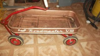 Vintage AMF VIII Roadmaster Metal Childs Kids Riding Pull Toy Red Wagon