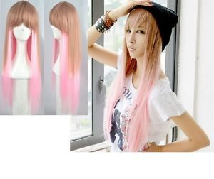 "Long Straight 22"" Harajuku Dual Color Pink Brown Party Club COS Cosplay Wigs"