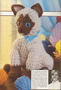 Crochet Patterns Siamese Cat Stuffed Animal Toy Baby Diaper Stacker Alligator