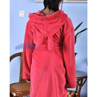 Children Kids Girl Fleece Bathrobe Hooded Ear Cute Robe Dressing Gown Housecoat