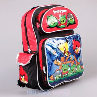 "Rovio Angry Birds Backpack 16"" Large Blue Red Book Bag Boys Girls Kids"