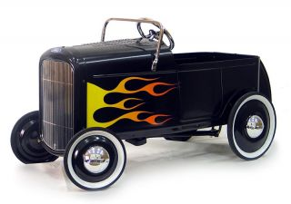 New 1932 Replica Black Ford Roadster Kids Childrens Pedal Car Hot Rod Toy