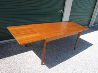 Fabulous Danish Modern Teak Hideaway Leaves Extension Dining Table Mid Century