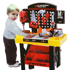 My Workshop Workbench Toy Kid Child Table 40 Pieces Tool Play Set Work Bench