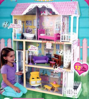 Big Wooden Doll House Set Large Kit with Furniture for Barbie and Kids Girl Toy