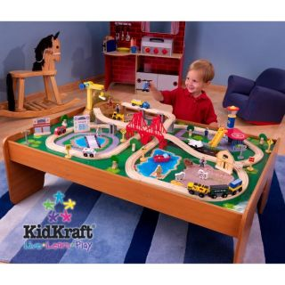 Ride Around Town 100pc Train Set w Table Kid's Wooden Toy Playset 17836 New
