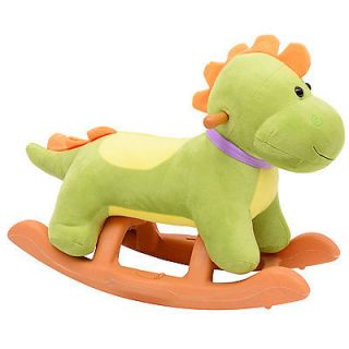 Qaba Baby Kids Toy Plush Rocking Horse Style Little Dinosaur Theme Riding Rocker