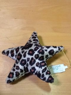 Leopard Print Stuffed Star Christmas Holiday Tree Hang Ornament Soft Texture