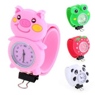 Cartoon Animal Silicone Rubber Slap Band Quartz Children Kids Sport Wrist Watch