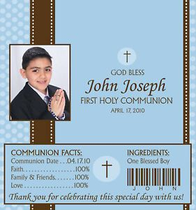 First Communion Candy Wrappers Party Favors