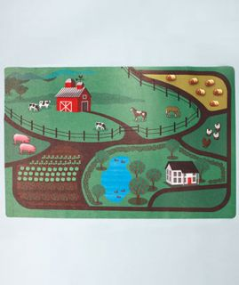 "Kids' Farm Themed Activity Play Mat Non Slip Durable 35"" x 48"""