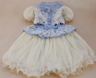2013 Sweet Kids Girl's Jeans Flower Lace Ball Chiffon Blue Angel Princess Dress