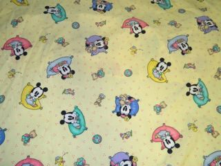 Vtg 1996 Disney Babies Baby Mickey Minnie Mouse Fitted Crib Sheet Fabric