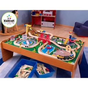 Ride Around Town 100pc Train Set w Table Kids Wooden Toy Playset 17836 NEW