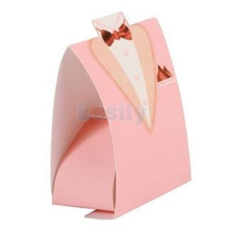 1 Pair Bride Bridegroom Wedding Bridal Party Favor Candy Gift Boxes Pink Theme