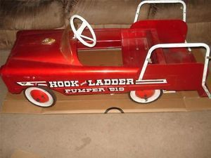Vintage AMF Fire Truck Hook and Ladder Steel Construction Toy Pedal Car
