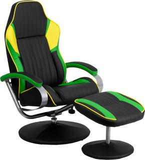 Racing Car Seat Style Black Green Yellow Vinyl Home Office Recliner with Ottoman