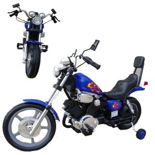 Kids Battery Power Harley Ride on Motorcycle Wheels Blue Electric Bike 4 MPH 6V