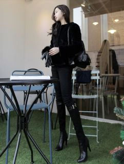 New Women Winter Luxury Style Faux Fur Short Jacket Coat Black Soft Warm Outwear