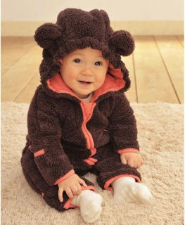 Cute Kids Babys Warm Winter Animal One Piece Fleece Jacket Coat Outfit Clothes