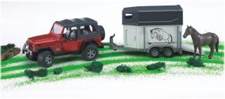 Bruder Jeep Wrangler Unlimited with Horse Trailer Kids Toy 02921