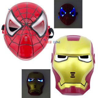 Gift Spider Iron Man LED Light Up Mask for Kids Children Cosplay Toy Halloween