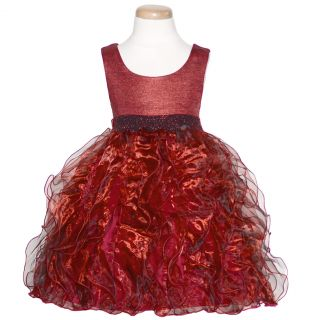 Bonnie Jean Girls 7 Iridescent Red Sparkle Ruffle Christmas Dress