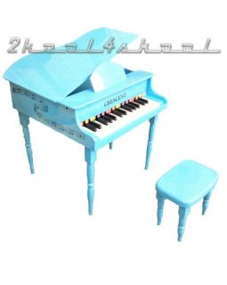 Child Toy Piano Baby Blue Grand for Kids with Bench