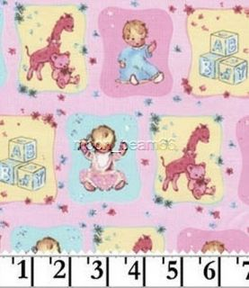 Cute Babies ABC Blocks Teddy Bear Giraffe Toys Cotton Fabric by The Yard