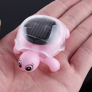 Pink Mini Solar Educational Toy Little Turtle Tortoise
